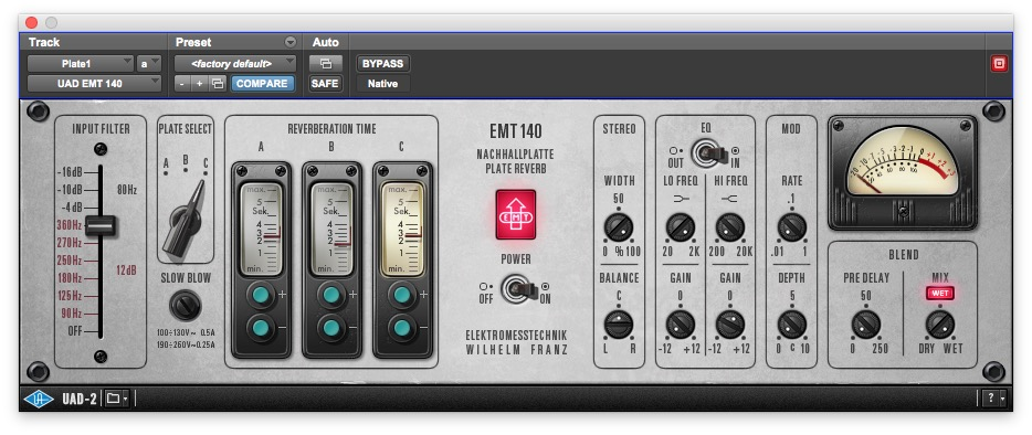 UAD EMT 140 Plate reverb Lead Vocal settings